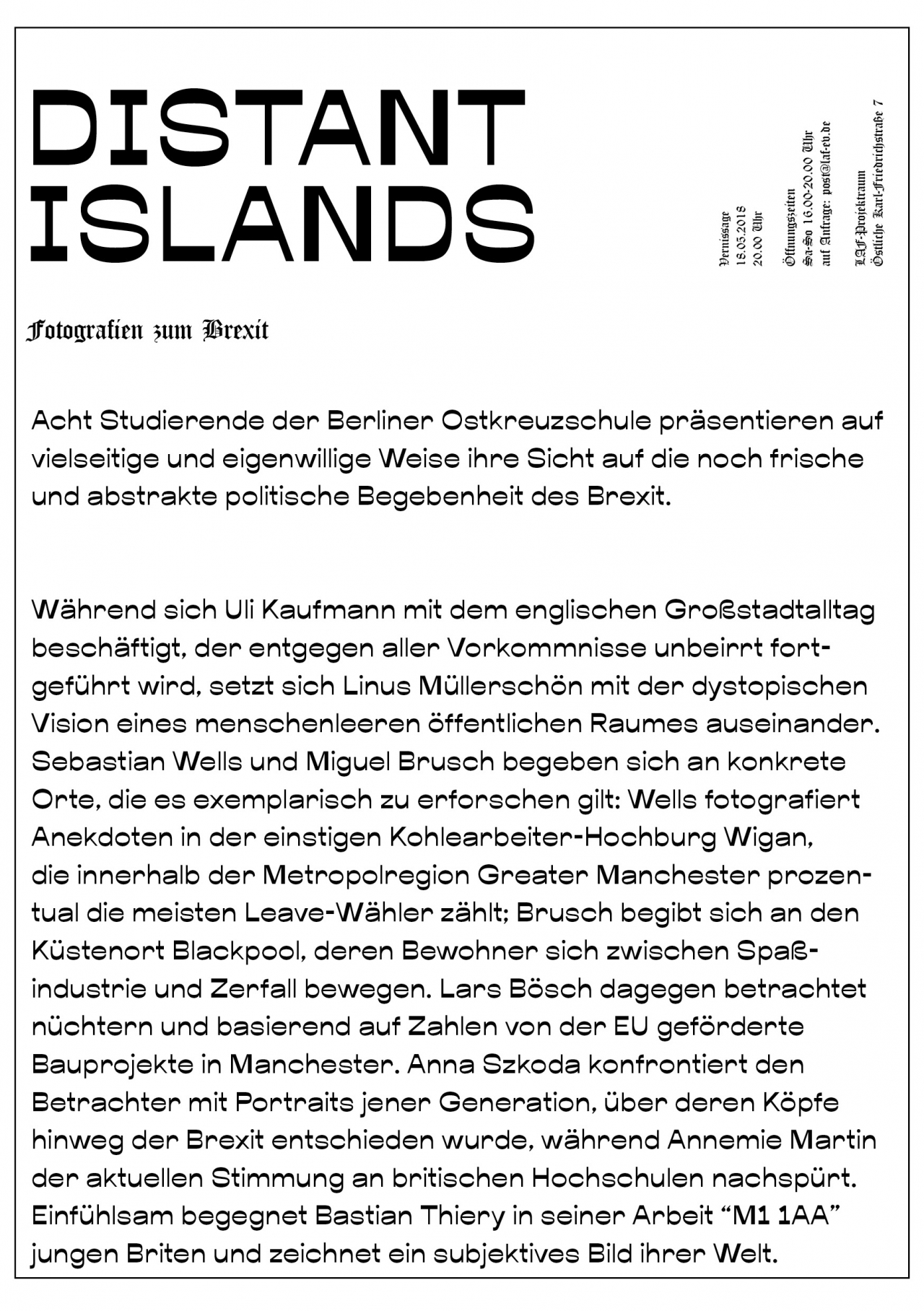 LAF Distant Islands, Fotografien zum Brexit